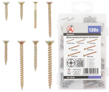 Multi-Purpose Screws Cross slot PZ2 120 pcs.