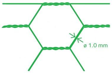 Hexagonal mesh Avigal PVC 25x1.0 50 cm x 25 m