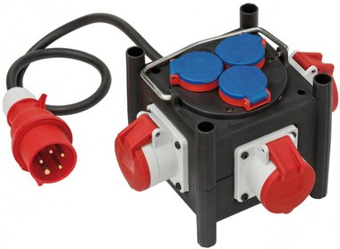 Compact rubber flow divider BSV 3 LS E/16 2 IP44 1m H07RN-F 5G1.5