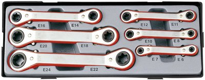 Offset star ratchet ring wrench set 6pc (15° bowed)