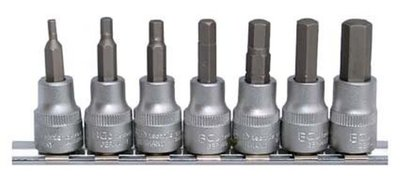7-piece Bit Socket Set, Internal Hexagon, 3/8