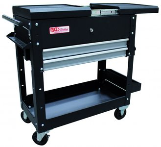 Workshop Trolley 2 Drawers Horizontal double drawer slide empty