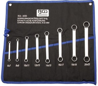 8-piece Double Ring Spanner Set, extra flat, 6-22 mm