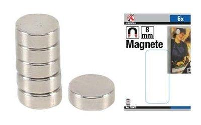 Magnet set extra strong diameter 8 mm 6 pcs