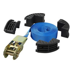 Tie down strap blue with ratchet and corner protectors 5 meter