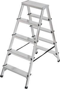Double stepladder aluminium 2x5 rungs Height of the rung ladder 1,04m